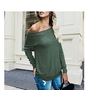 Sweaters - Olive Green Off Shoulder Long Sleeve Top